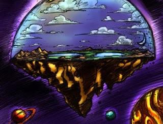 Penggambaran Bumi datar yang dinaungi kubah langit. Sebenarnya hanya permukaan atasnya yang 'datar'. Sumber gambar: http://people.howstuffworks.com/creationism1.htm