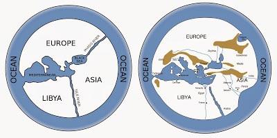 Rekonstruksi peta dunia versi Anaximander (610-546 SM; kiri) dan Hecataeus (550-476 SM; kanan). Peta Hecataeus diadaptasi dari peta milik Anaximander, yang dimodifikasi dengan memberikan detail lebih. Sumber gambar: Wikipedia.