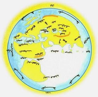 Peta buatan Ali al-Mas'udi, c. abad ke-9 Masehi. Perhatikan bahwa tulisan Arab di peta terbalik karena peta ini dirancang dengan arah utara di bagian bawah, alih-alih di atas. Sumber gambar: Wikipedia.