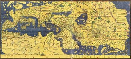 Peta Tabula Rogeriana karya Muhammad al-Idrisi, dibuat tahun 1154 M. Desain asli peta adalah arah selatan di bagian atas. Sumber gambar: Wikipedia.