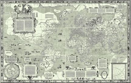 Peta dunia versi Gerardus Mercator, buatan tahun 1569. Informasi lebih lanjut dapat ditemukan di: http://en.wikipedia.org/wiki/Mercator_1569_world_map