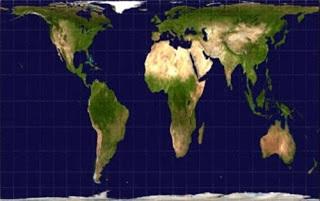 Proyeksi Gall-Peters atas muka Bumi. Sumber gambar: http://mentalfloss.com/article/19364/3-controversial-maps
