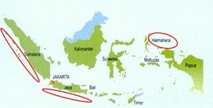 Peta daerah yang memiliki potensi pembangkit listrik tenaga ombak berdasarkan riset BPPT-Pemerintah Norwegia. Sumber: Pusat Vulkanologi dan Mitigasi Bencana Geologi, dan Badan Geologi, Desom.