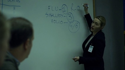Kate Winslet memerankan Dr Erin Mears di film Contagion menerangkan konsep R0